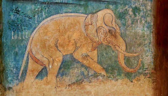 วัดภูมินทร์ จังหวัดน่าน จิตรกรรมฝาผนัง รูปช้าง ลักษณะงดงามมาก