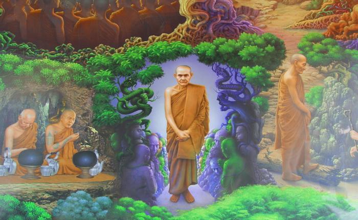 หลวงปู่มั่น ภูริทัตโต วัดโพธิสมภรณ์ ภาพจิตรกรรมฝาผนัง ภายใน พระบรมธาตุธรรมเจดีย์