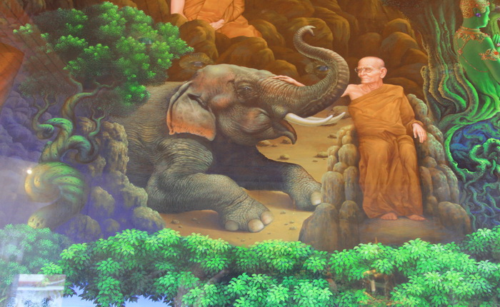 หลวงปู่ขาว อนาลโย วัดโพธิสมภรณ์ ภาพจิตรกรรมฝาผนัง ภายใน พระบรมธาตุธรรมเจดีย์